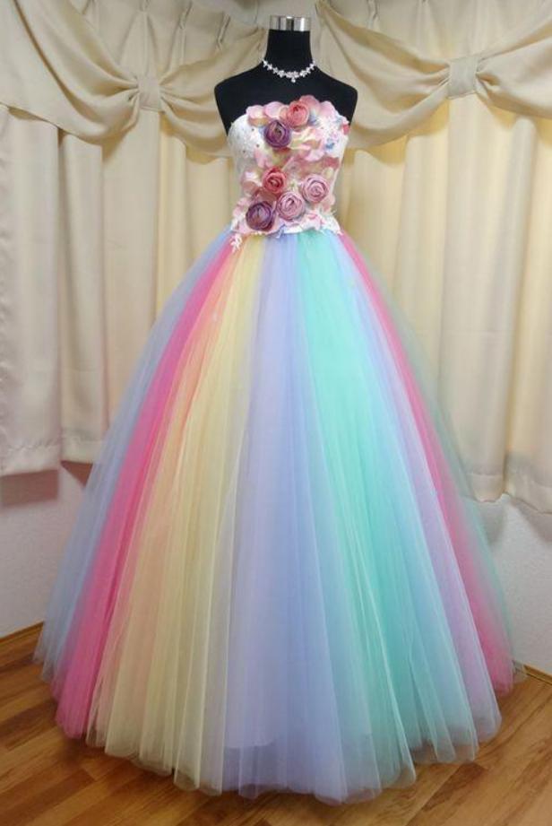 Floor Length Strapless Ball Gown Party Dress, Unique Prom Dress with Flowers