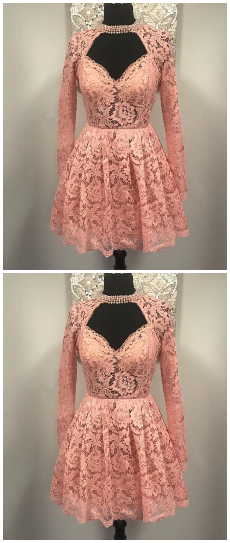 Sweetheart Long Sleeves Lace Short Homecoming Dress