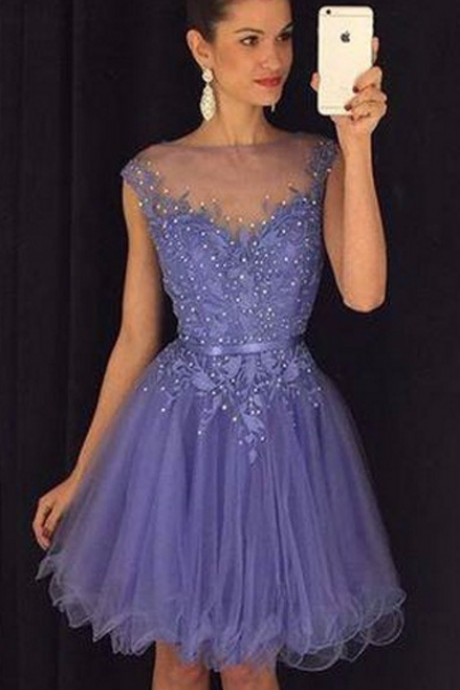 Purple Illusion Neckcline Lace Bodice Short Homecoming Dress With Beading Crystal Cap Sleeve Vestido De Festa Curto