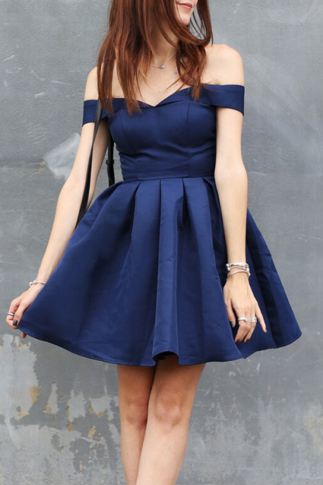 Off the shoulder Navy Short Homecoming Dress