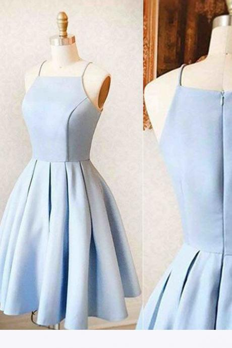 Satin Light blue Simple Short Prom Dress,Mini Homecoming dress for teens