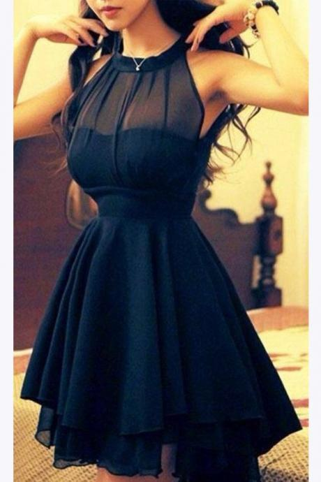 Chiffon black Homecoming Dress,Short Prom Dresses For Girls