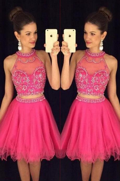 Hot Pink Halter Homecoming Dresses,Two Pieces Beaded Short Prom Dresses