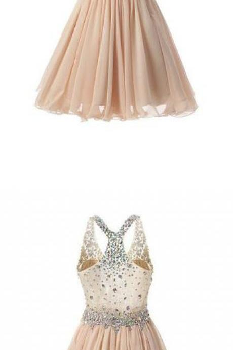 Sexy A Line Short Mini Halter Homecoming Dresses with Beading