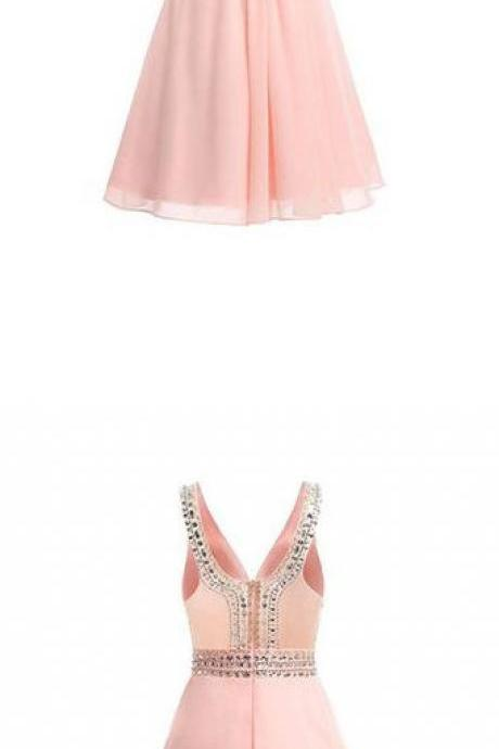 Chiffon Homecoming Dresses,V-neck Short Prom Dresses with Beadings