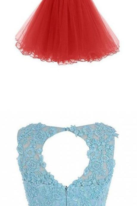 Two Pieces Homecoming Dresses, Short Prom Dresses with Appliques