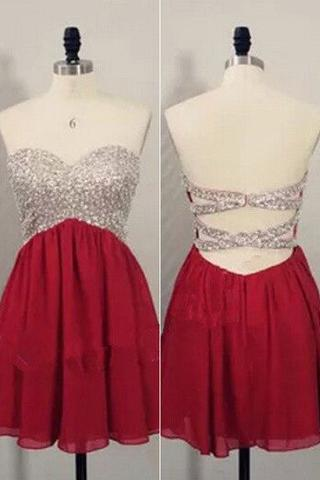 Red Short Homecoming Dresses,Open Back Prom Dresses,Party Dress For Girls