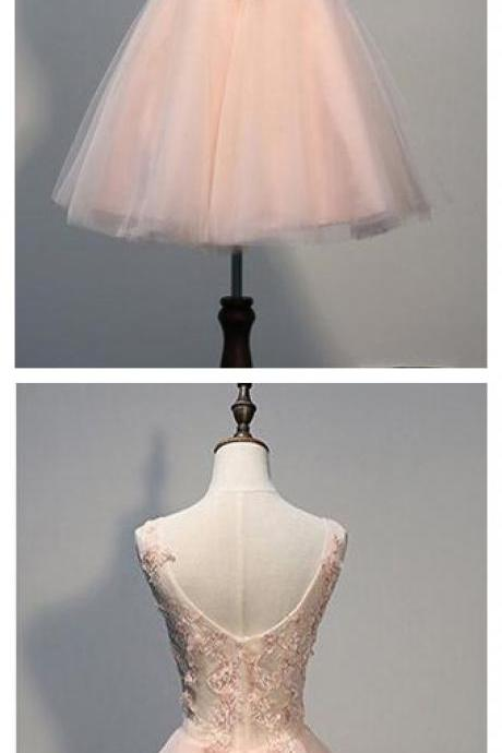 Pink Homecoming Dresses,Short Open Back Homecoming Dress with Pearl Appliques