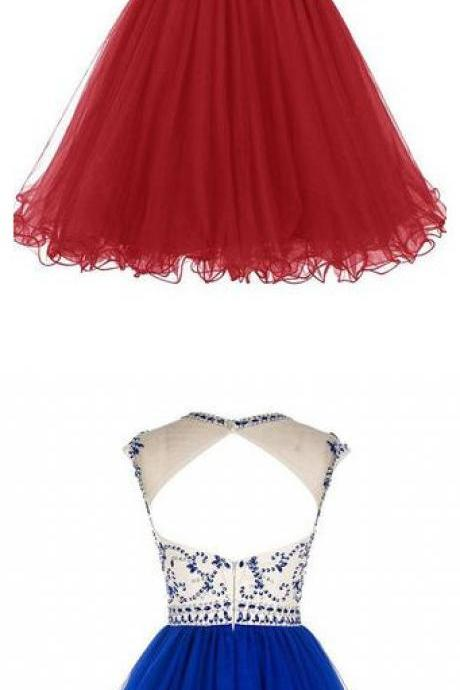 Short Homecoming Dress,Tulle Homecoming Dresses Prom Dresses with Beading