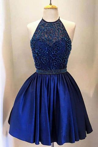 Royal Blue Taffeta with Beading, High Neck Bodice Halter Homecoming Dresses