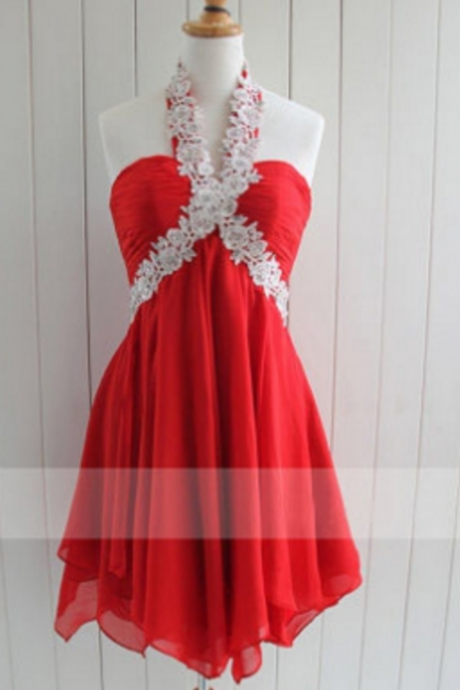 short prom dress, red prom dress, halter prom dress, knee-length prom dress, junior prom dress, cheap prom dress, occasion dress, bridesmaid dress