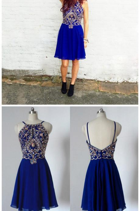 Hot Sale Spaghetti Straps Short Royal Blue Homecoming Dresses Beaded Rhinestonesliques