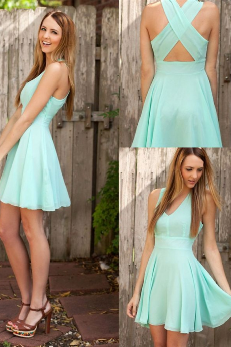 Chiffon Plunge V Sleeveless Short Skater Homecoming Dress Featuring Criss-Cross Open Back, Cocktail Dress