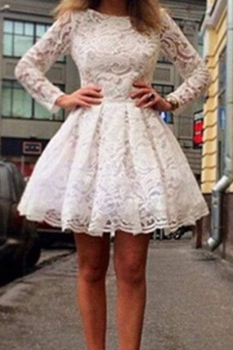 Long Sleeves White Lace Short Classy Homecoming Dresses