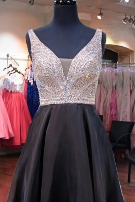 Sleeveless Plunging V Beaded Black Chiffon Short Homecoming Dress, Cocktail Dress, Party Dress, Prom Dress