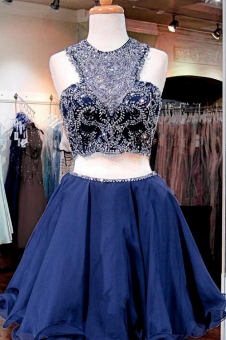 Two Pieces Navy Homecoming Dresses, Luxury Rhinestone Homecoming Dresses, Navy Homecoming Dresses, Popular Homecoming Dresses, Short Prom Dresses, Homecoming Dresses, Sweetheart 16 Dresses