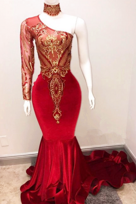 Elegant One the Shoulder Prom Dresses,Mermaid Evening Dresses,Appliques Women Dresses