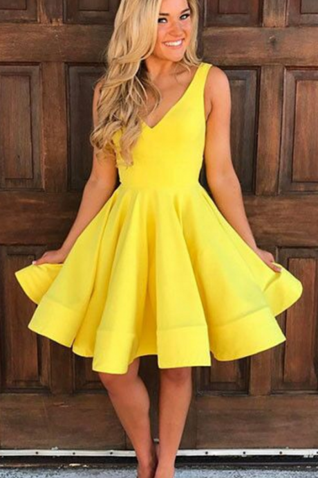 Cute A Line Yellow Homecoming Dress,V-Neck Party Dress,Cocktail Dresses