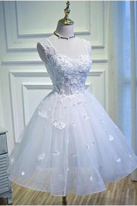 Charming Prom Dress, Elegant Homecoming Dress, Appliques Evening Dress, Short Prom Gowns