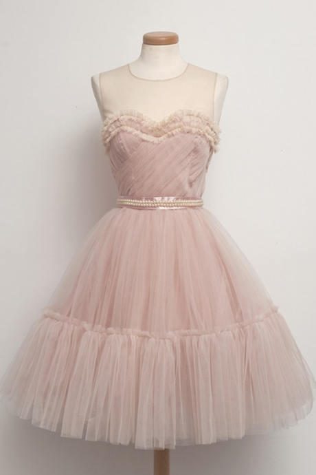 Blush Pink A-line Short Prom Dress with Layered Tulle Skirt