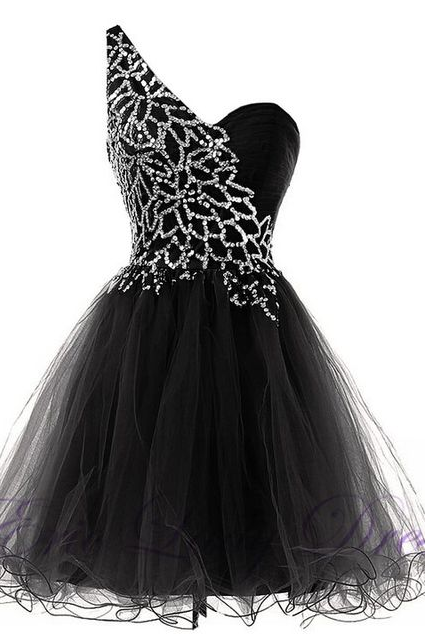 Black One Shoulder Rhinestone Embellished Short Tulle Homecoming Dress
