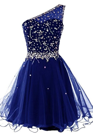 One-Shoulder A-line Homecoming Dress with Beaded Bodice