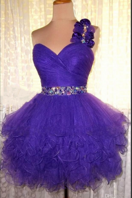 Homecoming Dresses,One Shoulder Homecoming Dresses,Sweetheart Homecoming Dresses,Organza
