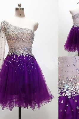 Homecoming Dresses,One Shoulder Homecoming Dresses,Rhinestone Homecoming Dresses,Organza