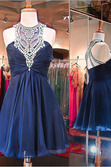 Navy High Neck Homecoming Dresses, Rhinestone Homecoming Dresses, Chiffon Homecoming Dresses,