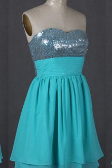 Custom Made Sparkly Strapless Short Chiffon Homecoming Party Dress