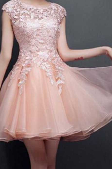 Homecoming Dresses,Lace Homecoming Dresses,Cap Sleeve Homecoming Dresses,Organza Homecoming