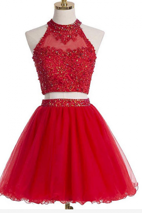 Lovely Red Homecoming Dresses, Two Piece Homecoming Dresses, Homecoming Dresses 2017, Short Party Dresses, Mini Homecoming Dresses, Applique Homecoming Dresses, Sequined Homecoming Dresses, A-Line Homecoming