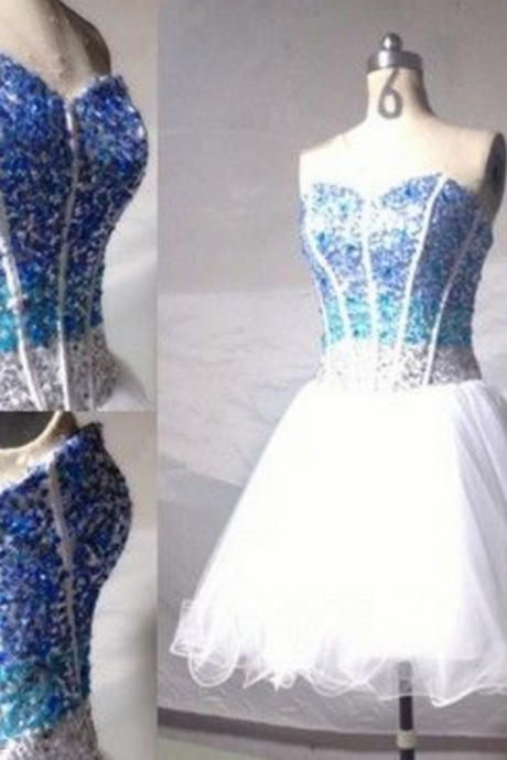 Sweetheart Homecoming Dresses, White Organza Homecoming Dresses, Rhinestone Homecoming Dresses,