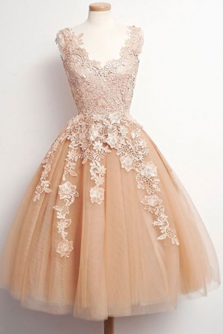 A-line V-neck Tulle Homecoming Dresses,Champagne Lace Homecoming Dresses,Homecoming Dresses,2017