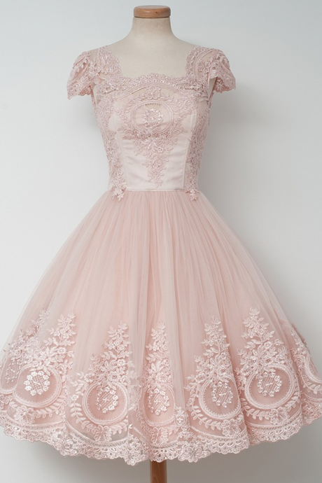 A-line Square Neckline Tulle Homecoming Dresses,Tulle Appliques Homecoming Dresses,Short Lace Homecoming