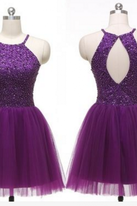 Homecoming Dresses,Sequin Homecoming Dresses,Purple Homecoming Dresses,Tulle Homecoming Dresses,Open Back