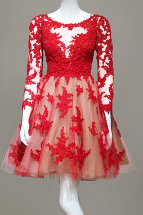 Red Lace Homecoming Dress,Long Sleeve Homecoming Dresses