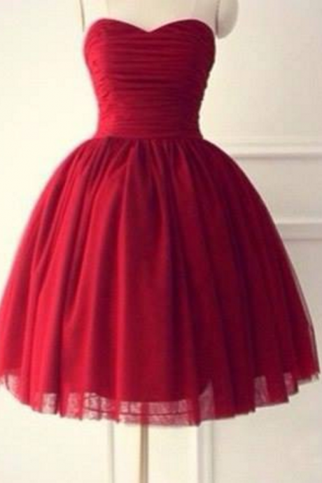 Simple Red Homecoming Dress,Knee Length Homecoming Dresses