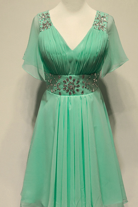 Short Sleeve Homecoming Dress,Mint Green Homecoming Dresses