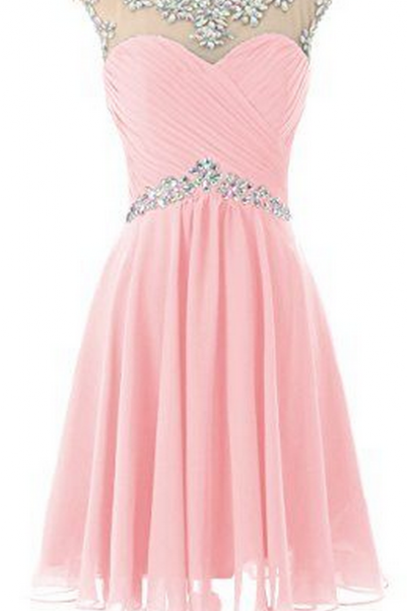 A-Line Pink Homecoming Dress,Beaded Homecoming Dresses