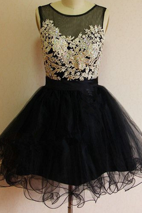 Black Organza Homecoming Dress,White Applique Homecoming Dresses