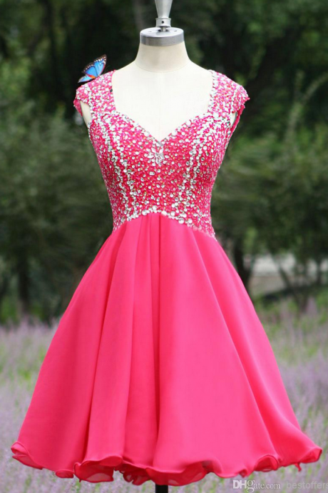 Beaded Embellished Diamond Neckline Short Chiffon Homecoming Dress Featuring Open Back and Curly Hem