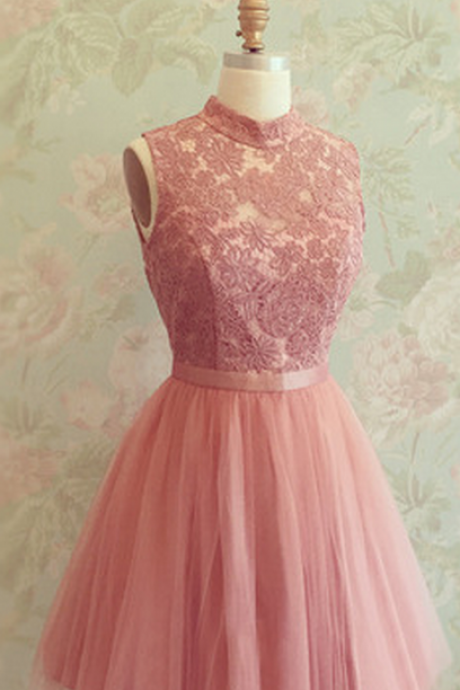 High Neck Homecoming Dress,Lace Tulle Homecoming Dresses