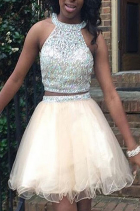 Halter Short Homecoming Dress,Two Piece Homecoming Dresses