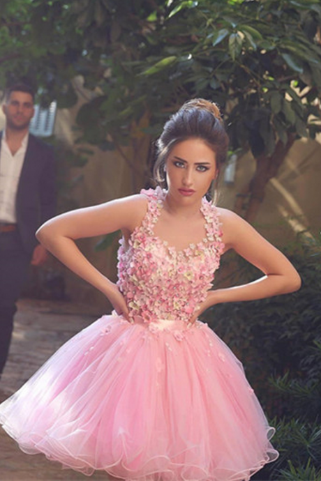 Lovely Pink Homecoming Dress,Flower Beaded Homecoming Dresses