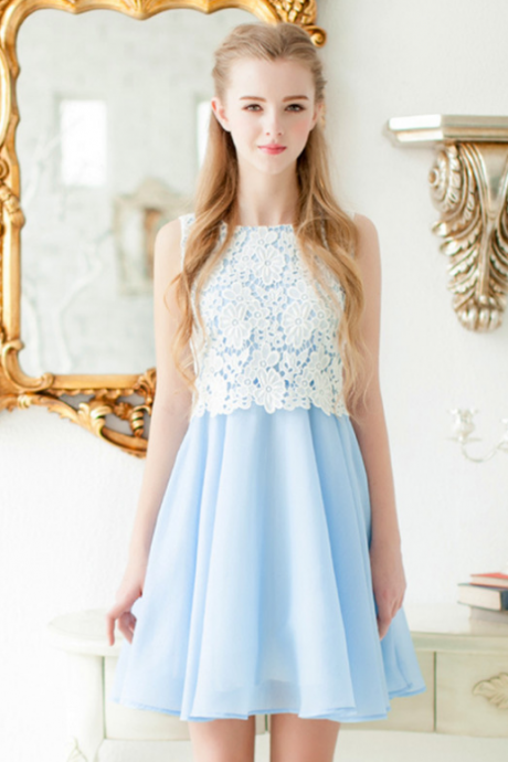Sleeveless Short Homecoming Dress,White Lace Homecoming Dresses
