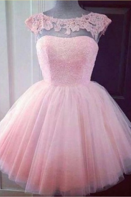 Pink Tulle Homecoming Dress,Short Mini Homecoming Dresses