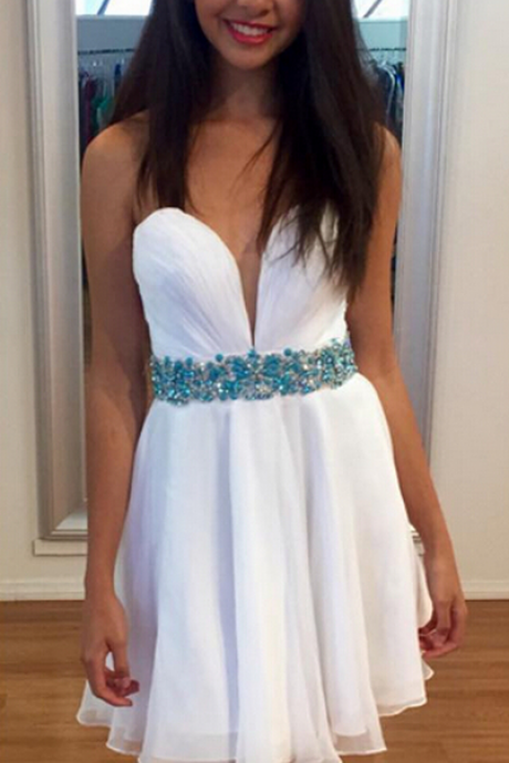 Simple White Homecoming Dress,Sweetheart Chiffon Homecoming Dresses