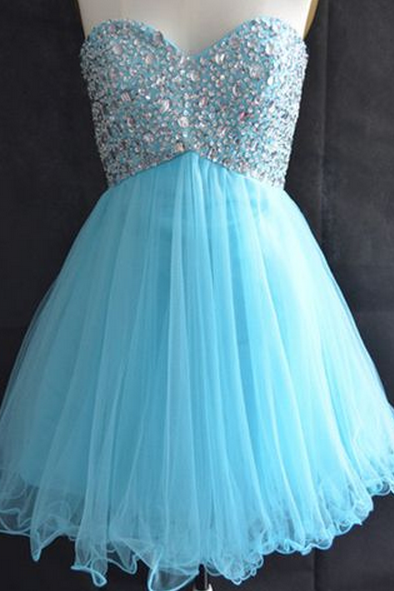 Sky Blue Homecoming Dress,Sweetheart Beaded Homecoming Dresses