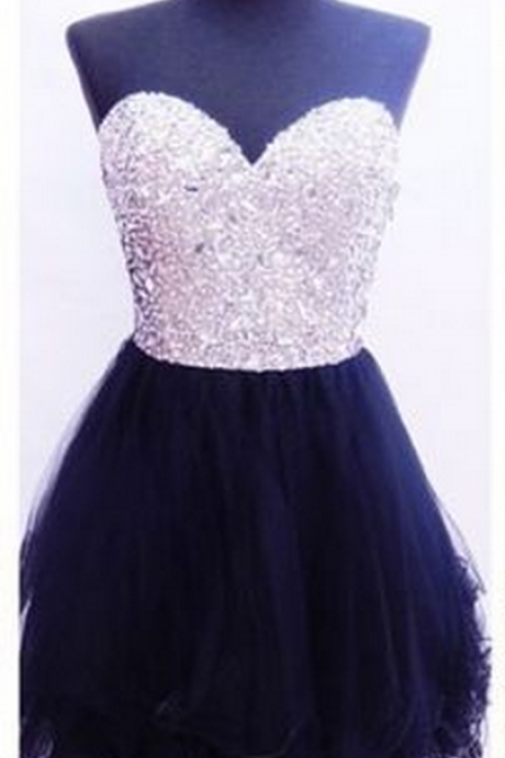 Beaded Blakc Homecoming Dress,Short Mini Homecoming Dresses